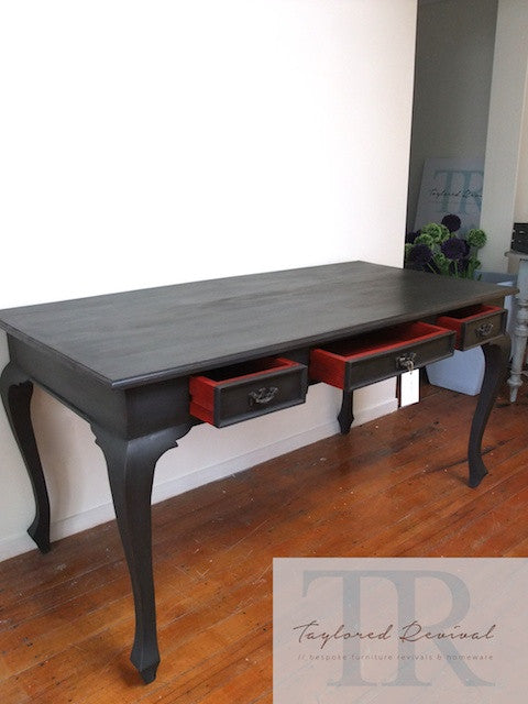 Veda - Deep Charcoal queen Anne desk with Red Antique style drawers