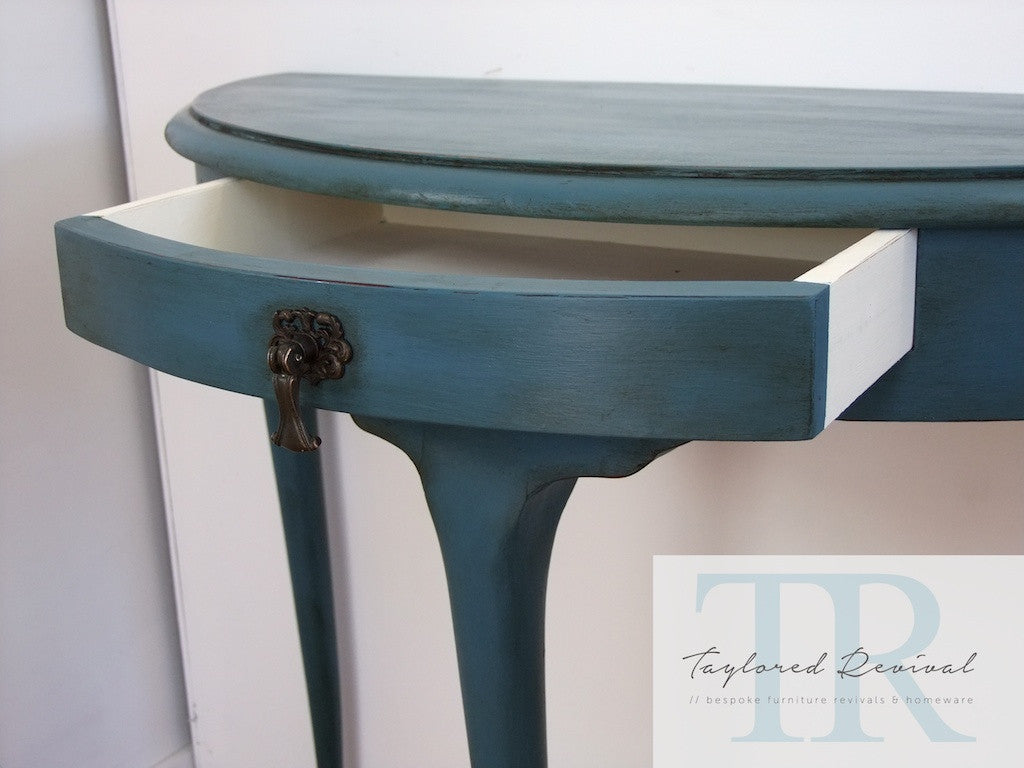 Commissioned Ambusson blue half round table