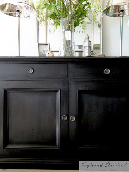 Black Commissioned Sideboard In Graphite With Black Wax