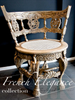 Andrea : French Elegance collection: Hand painted, round ornate chair in Coco and Antoinette