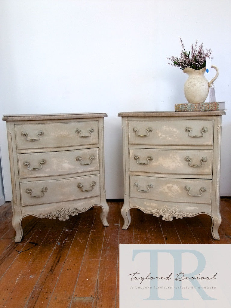 Sasha & Belle: French style 3 drawer bedsides