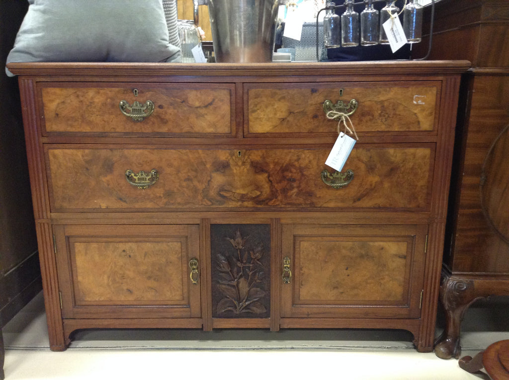 TR-115 Washstand Walnut Edwardian, Two Drawers over one Drawer, over Cabinet 1900-1915