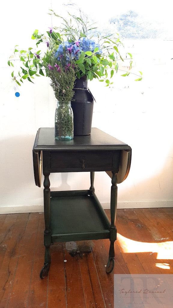 Commissioned Oak Tea Trolley in dark forest green