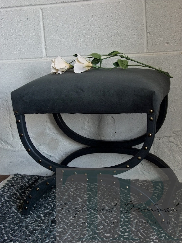 Mabel: Grey velvet stool with studded frame- TR collection #1 one dark midcentury evening
