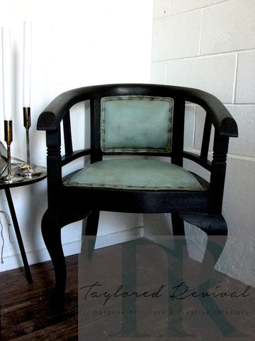 Commissioned Graphite chair with painted leather in duck egg blue
