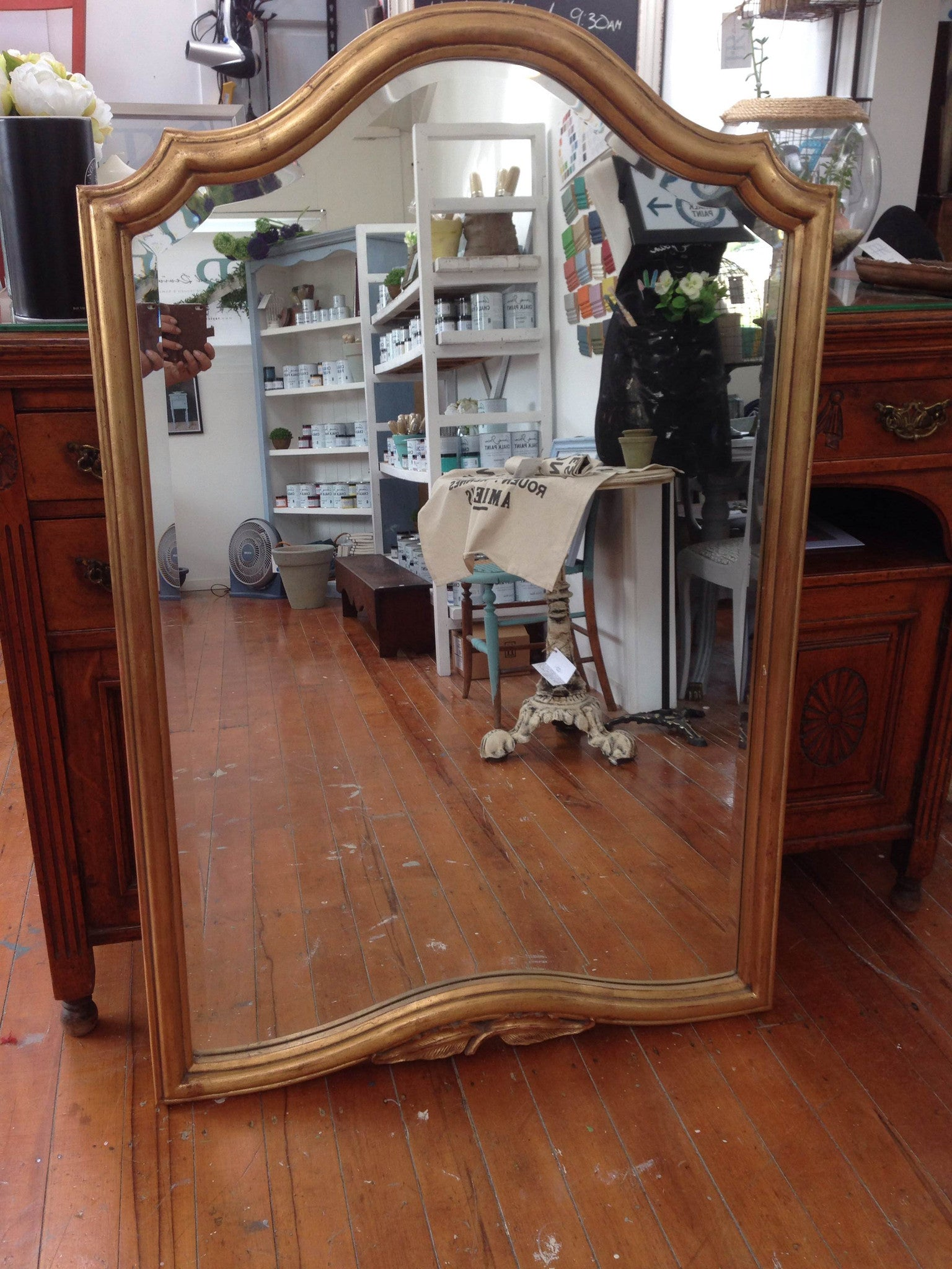 Commissioned Mirror in blended antibes, paris grey and gold