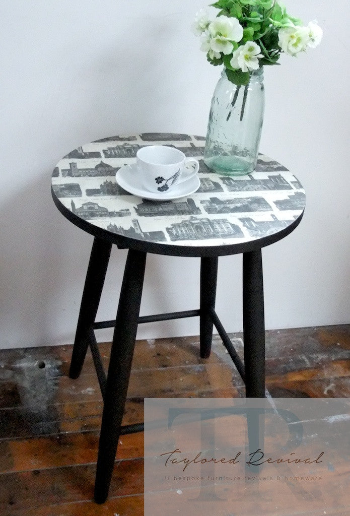 Mya- Side Table in Graphite with high quality print made in italy