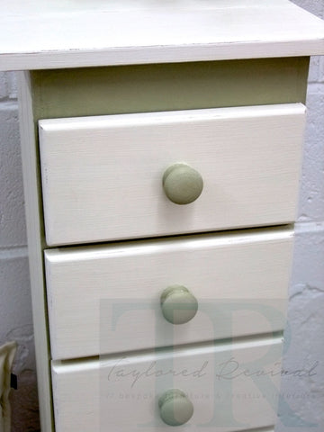 Commissioned small set of drawers in Old White and Versailles