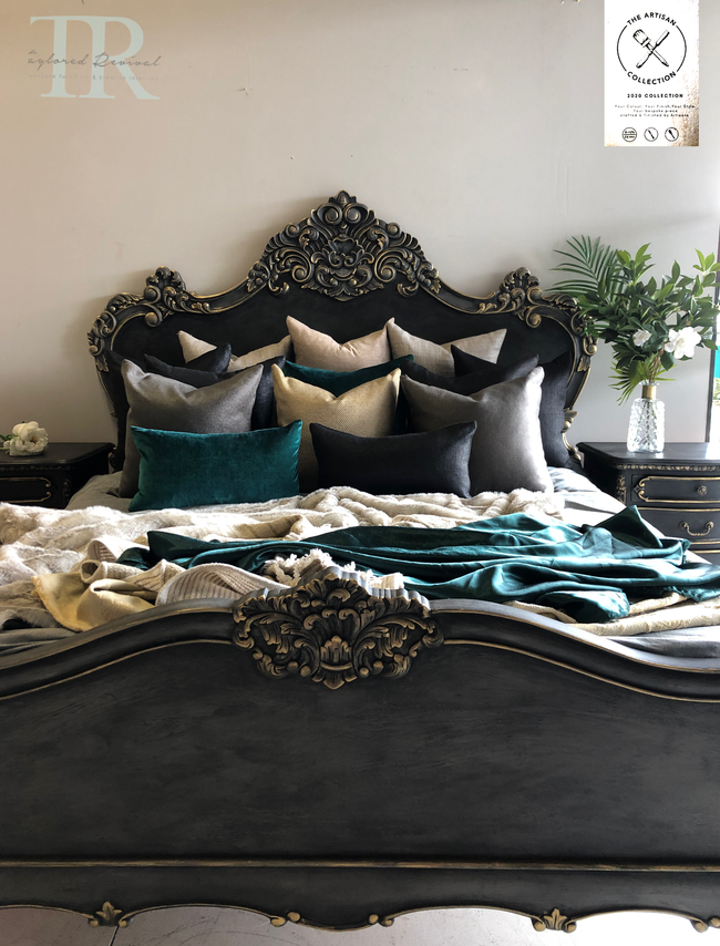 Commissioned Rococo bed in Cloudburst & Victorian Black Wax