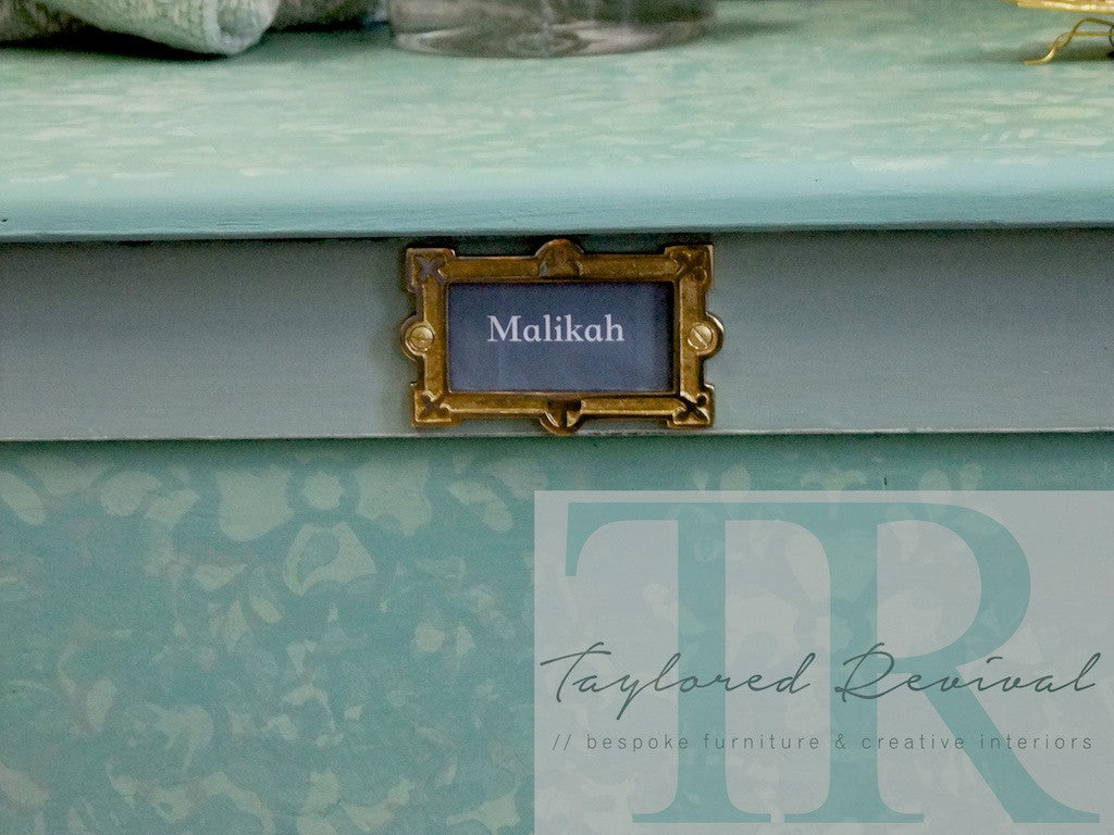 Commissioned stencilled toy chest in Petrushka
