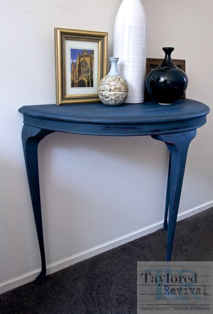 Zoe - half round antique style table in deep royal blue