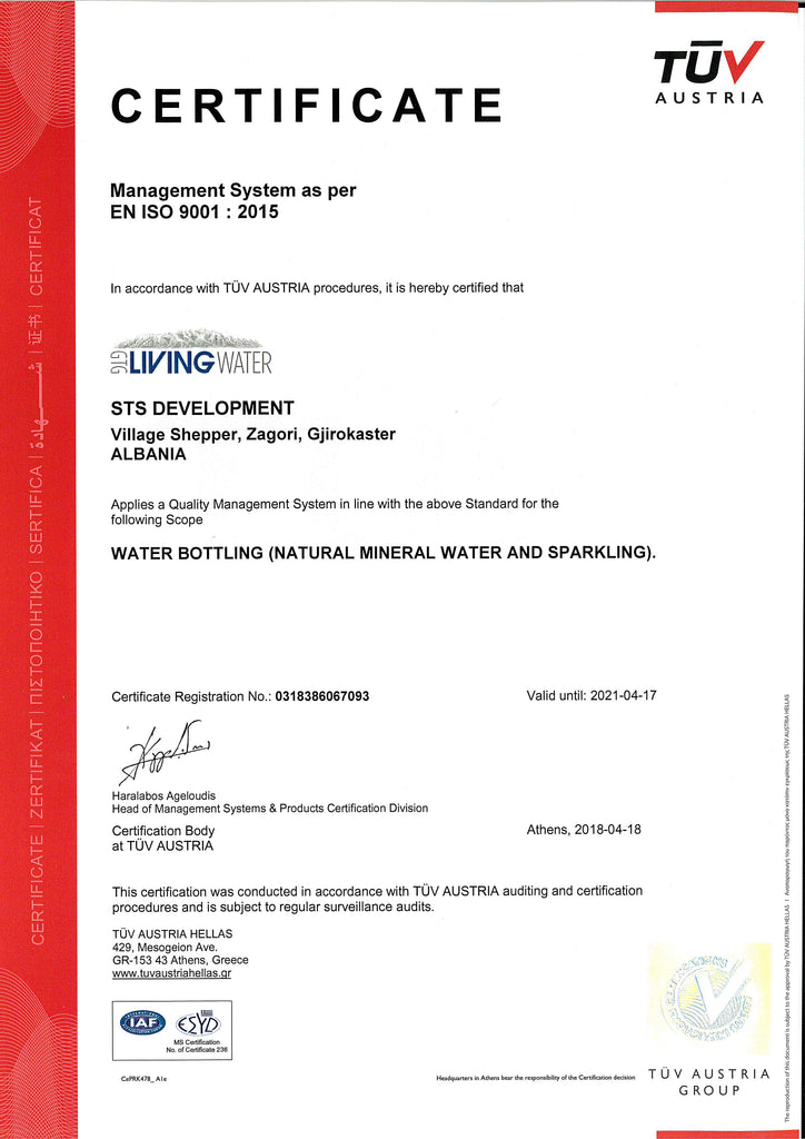 GTG Living Water - ISO 9001