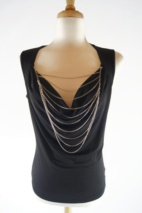 Solid Black Sleeveless Top with Tiered Detachable Necklace