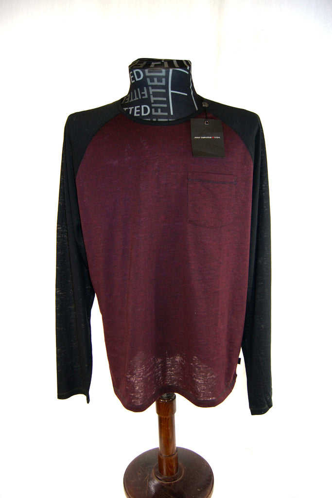 John Varvatos USA Raglan Tee Size L Long Sleeves Men's Two Tone Crew Neck NWT