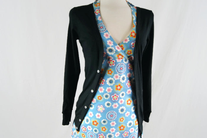Spun Organic Cotton Black V-neck Cardigan