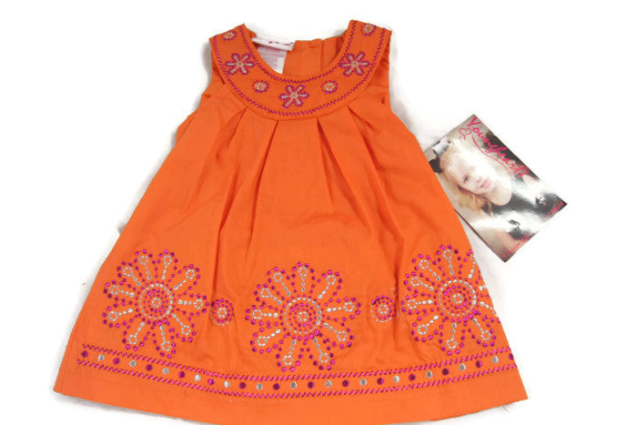 Younghearts Baby Girls' Orange Dress