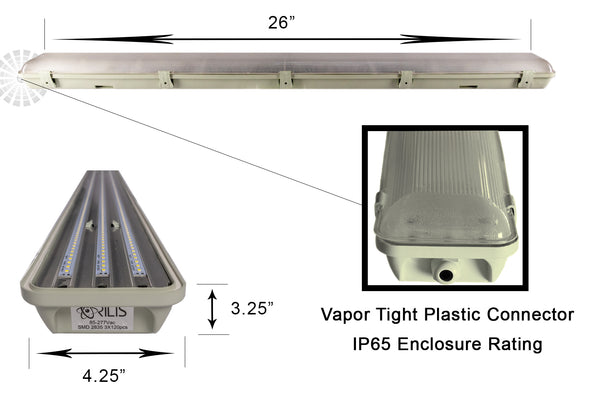 2 Ft. 36W Integrated LED Water Vapor Tight Lighting Fixture