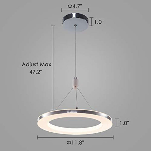 LED 30cm Ring Hanging Chandelier, 15W, 1000lm, 3000K, Chrome Finish - ORILIS LED LIGHTING SOLUTIONS