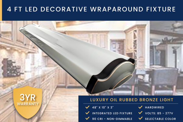 4 Ft Luxury Kitchen Light - Oil Rubbed Bronze Decorative Wraparound Ceiling Fixture with Selectable Color Temperature - 3000K, 4000K, 5000K