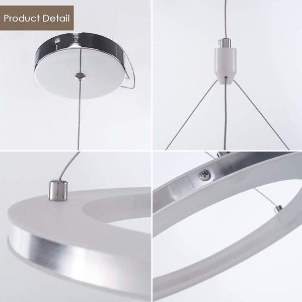 LED 30cm Ring Hanging Chandelier, 15W, 1000lm, 6500K, Chrome Finish - ORILIS LED LIGHTING SOLUTIONS