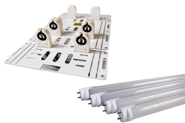 Pre-Wired 8 Ft T12/T8 LED Conversion Upgrade Retrofit Kit - Single Pin Fluorescent to 4 Light LED