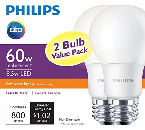 Philips 2-pack 9-Watt (60W Equivalent) 2700K A19 Medium Base (E-26) Soft White Indoor LED Bulbs - ORILIS LED LIGHTING SOLUTIONS