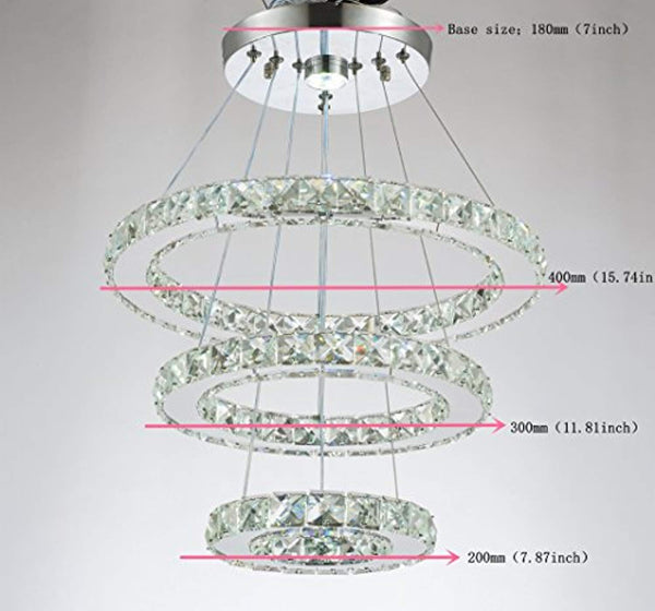 LED Crystal Chandelier with 3 Cool White (6000K) Rings 20/30/40cm - ORILIS LED LIGHTING SOLUTIONS
