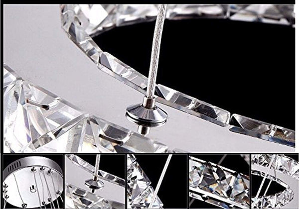 LED Crystal Chandelier with 3 Cool White (6000K) Squares 20/30/40cm - ORILIS LED LIGHTING SOLUTIONS