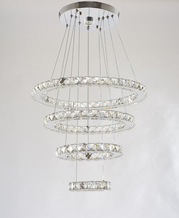 LED Crystal Chandelier with 4 Warm White (3000K) Rings 15/25/35/45cm - ORILIS LED LIGHTING SOLUTIONS
