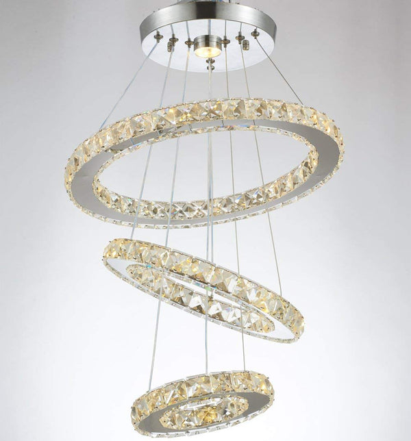 LED Crystal Chandelier with 3 Warm White (3000K) Rings 20/30/40cm - ORILIS LED LIGHTING SOLUTIONS