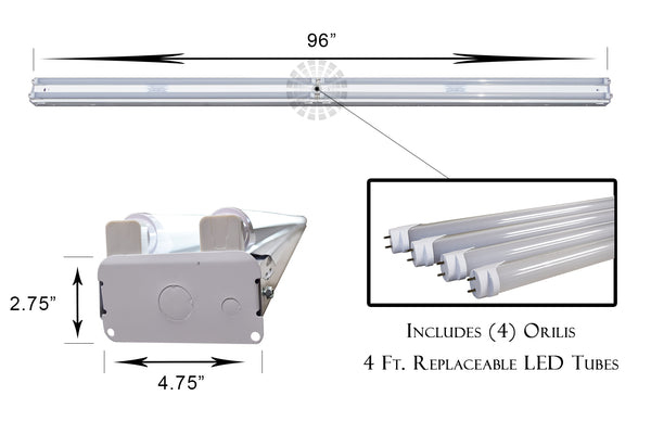 8 Ft. 96W White Flush Mount Commercial Hardwired Ceiling Fixture + (4) LED T8 Tubes