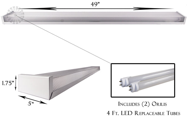 4 Ft. 48W White Flush Mount Hardwired Wraparound Fixture + (2) LED T8 Tubes