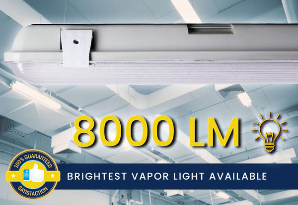 4 Ft. 72W Integrated LED Water Vapor Tight Lighting Fixture W/ Detachable LED Strips