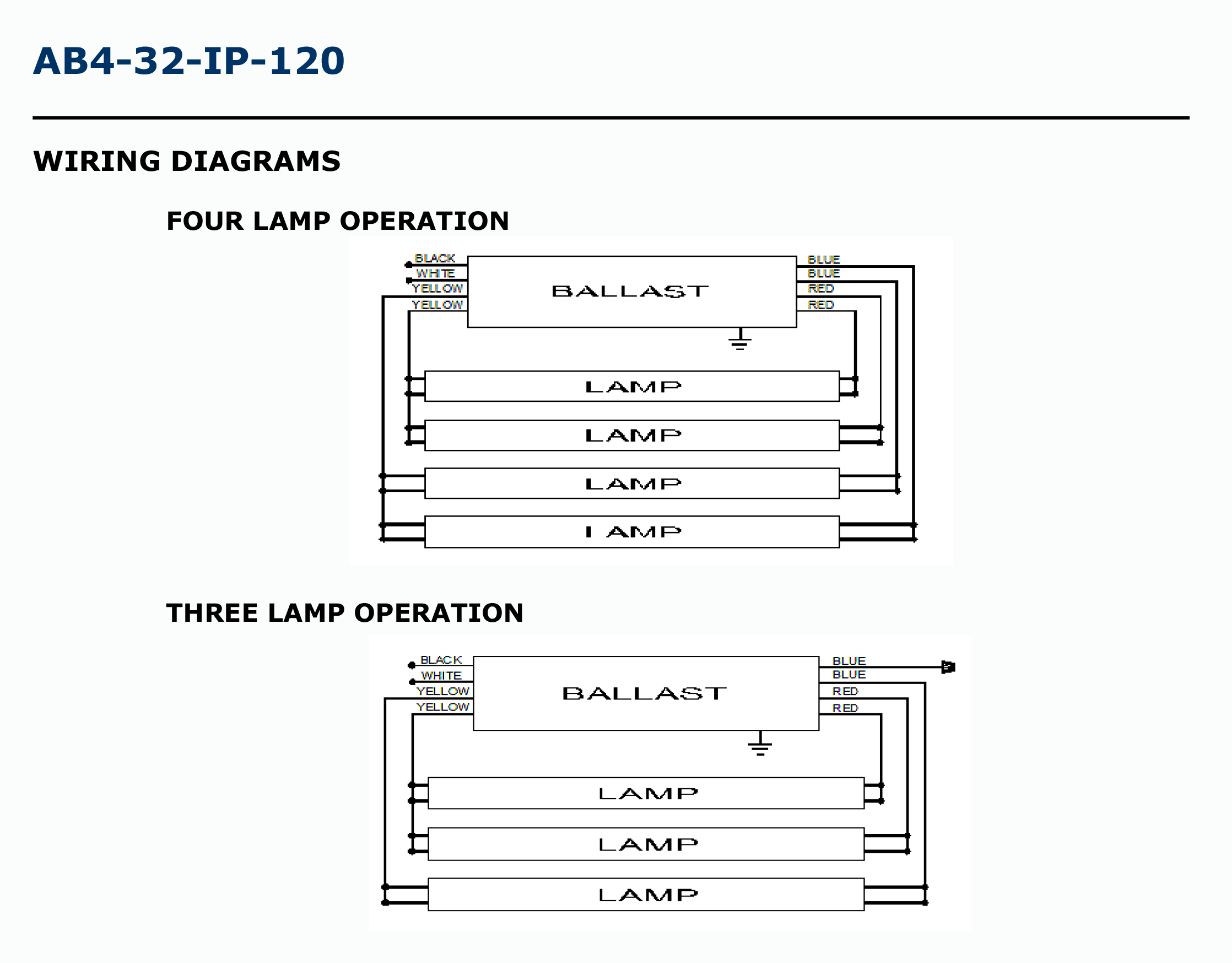 Electronic Ballast Wiring Instructions