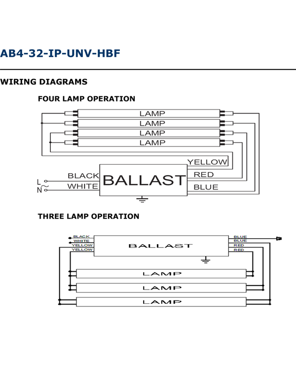 American Ballast 3 or 4 Lamp Electronic Ballast Model AB4-32-IP-UNV-HBF - ORILIS LED LIGHTING SOLUTIONS