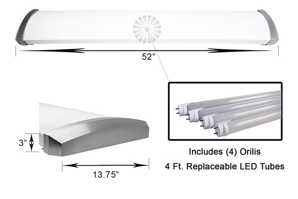 4 Ft. 96W Premium Brushed Nickel Flush Mount Ceiling Fixture + (4) LED T8 Tubes