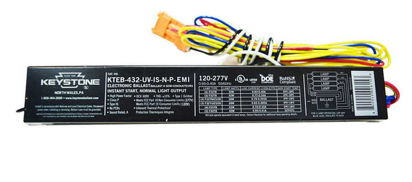 Keystone 3 or 4 Lamp Electronic Ballast Model KTEB-432-UV-IS-N-P-EMI - ORILIS LED LIGHTING SOLUTIONS