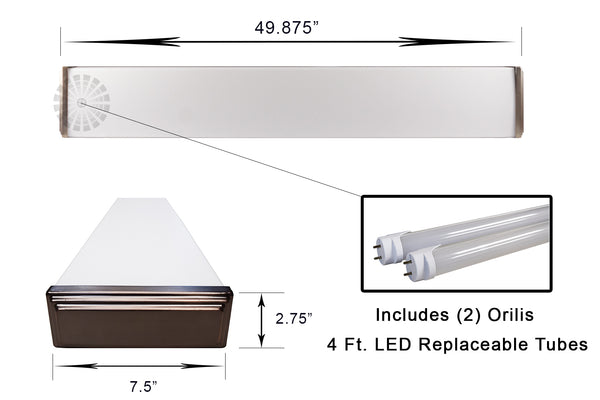 4 Ft. 48W Premium Oil Rubbed Bronze Flush Mount Hardwired Wraparound Fixture + (2) LED T8 Tubes
