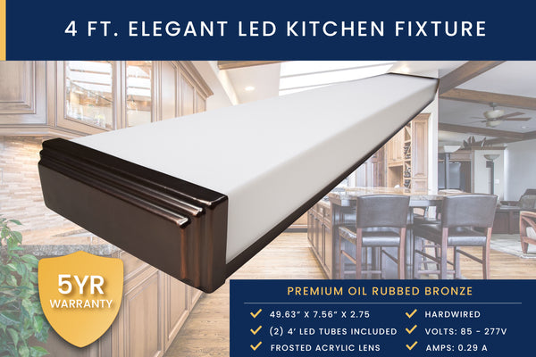 4 Ft Oil Rubbed Bronze Kitchen Ceiling Fixture + (2) Single-Ended LED T8 Tubes