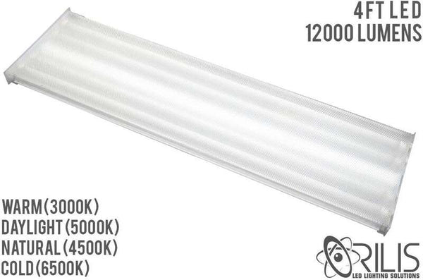 4 Ft. 96W White Flush Mount Hardwired Wraparound Fixture + (4) LED T8 Tubes - ORILIS LED LIGHTING SOLUTIONS