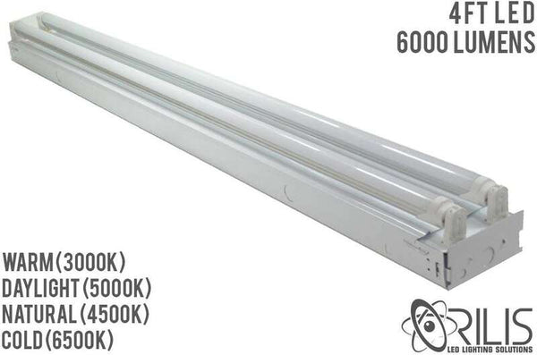 4 Ft. White Flush Mount Hardwired Ceiling Fixture + (2) LED T8 Tubes - ORILIS LED LIGHTING SOLUTIONS