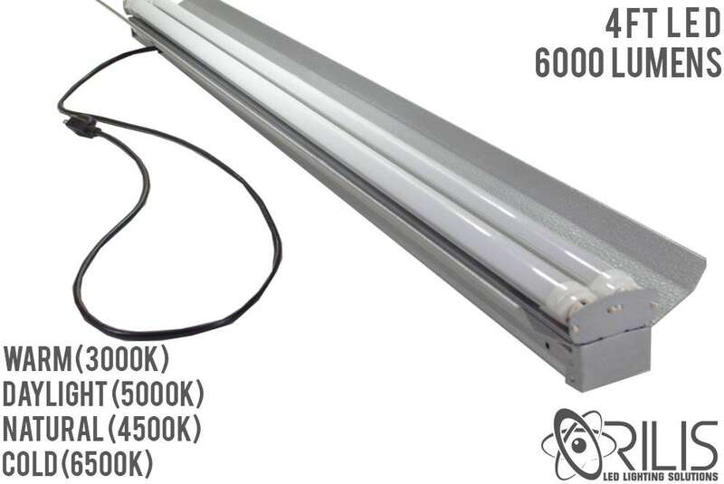 4ft Led Shop Light >> 4 Ft 48w Heavy Duty Hanging Shop Light With Pull Chain 2 Led T8 Tubes
