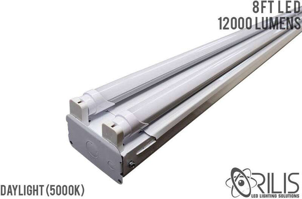 8 Ft 88W Commercial Grade High Output 4 Light LED T8 Fixture (4) 4 Ft Single Ended 22W LED Tubes 5000K - 10500 Lumens - DLC and UL Listed - ORILIS LED LIGHTING SOLUTIONS