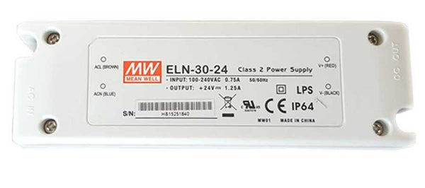 Mean Well ELN-30-24-Class 2 Power Supply, Input: 100-240VAC 0.75A 50/60Hz. Output: +24VDC 1.25A LPS CE IP64 - ORILIS LED LIGHTING SOLUTIONS