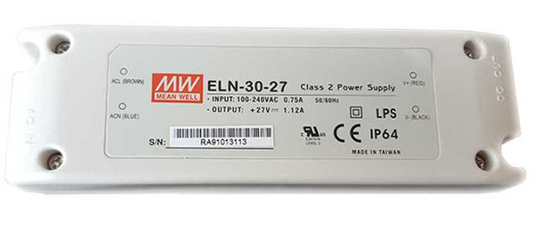Mean Well ELN-30-27- Class 2 Power Supply, Input: 100-240VAC 1.12A 50/60Hz.  Output: +27VDC 2.3A LPS CE IP64 - ORILIS LED LIGHTING SOLUTIONS