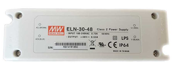 Mean Well ELN-30-48-Class 2 Power Supply, Input: 100-240VAC 0.75A 50/60Hz.  Output: +48VDC 0.63A LPS CE IP64 - ORILIS LED LIGHTING SOLUTIONS
