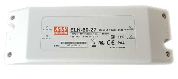 Mean Well ELN-60-27-Class 2 Power Supply, Input: 100-240VAC 1.2A 50/60Hz.  Output: +27VDC 2.3A LPS CE IP64 - ORILIS LED LIGHTING SOLUTIONS