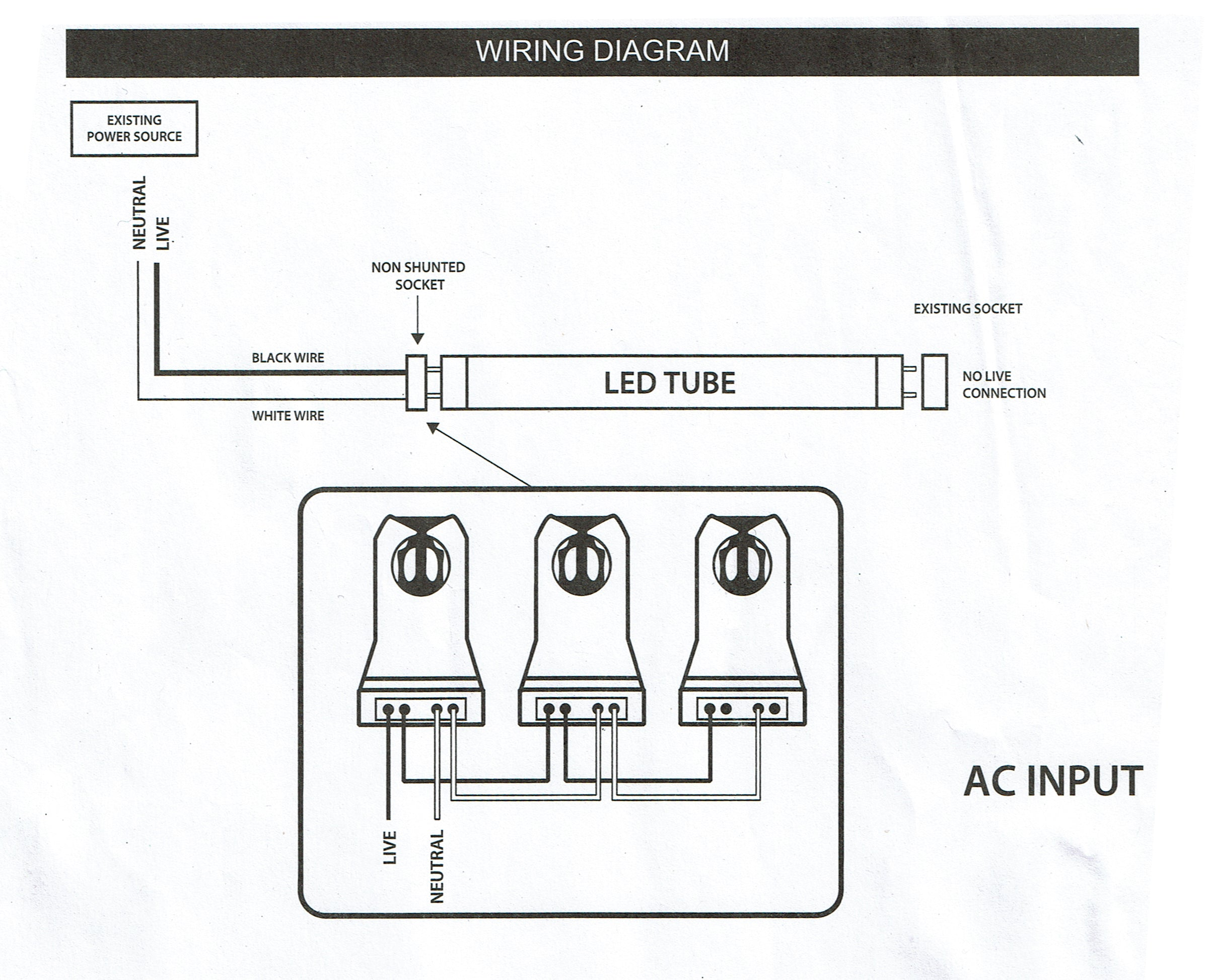 4 Ft Single Ended 22 Watt Led Tubes 2640 Lumens 5000k Day Lights Ac Wiring Diagram Light