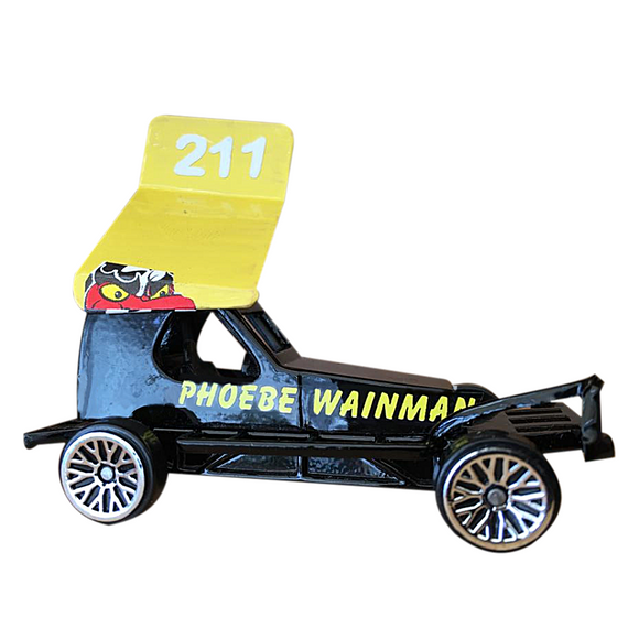 211 Phoebe Wainman - Die Cast Model Stock Car. Daughter of FWJ, she races Brisca F1's on raceways all over the UK. This picture shows a 1/62 scale Model Toy Car, replicating her real shale car as seen on the race track.