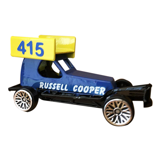 415 Russell Cooper's Die Cast Model Stock Car. A popular veteran to the Brisca F1 community, racing on raceways all over the UK. This picture shows a 1/62 scale toy Model of his Stock Car, replicating his real stock car as seen on the race track.